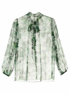Dolce & Gabbana white geranium printed pussybow blouse - Green