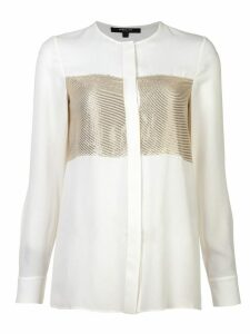 Derek Lam Collarless Blouse with Lame Stripe - White