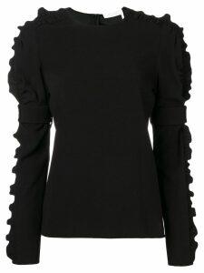 Chloé ruffle-trim crepe blouse - Black