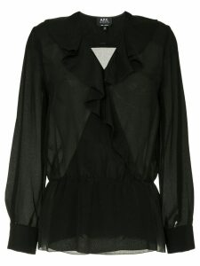 A.P.C. Edna sheer ruffle blouse - Black