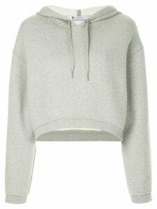 T By Alexander Wang cropped dense fleece hoodie - Grey