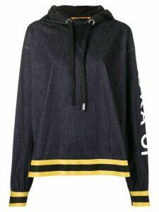 No Ka' Oi logo sleeve hoodie - Blue