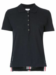 Thom Browne stripe-trim polo top - Blue