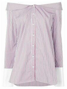 Monographie striped off shoulder shirt - White