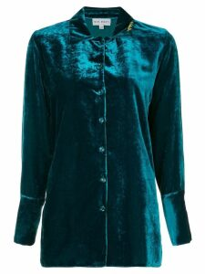Mira Mikati velvet loose-fit shirt - Blue
