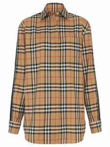 Burberry satin stripe check shirt - Yellow