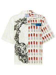 Prada lipstick print half sleeve shirt - White