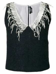 Calvin Klein 205W39nyc embroidered detail top - Blue