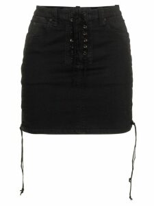 Unravel Project lace-up mini skirt - Black