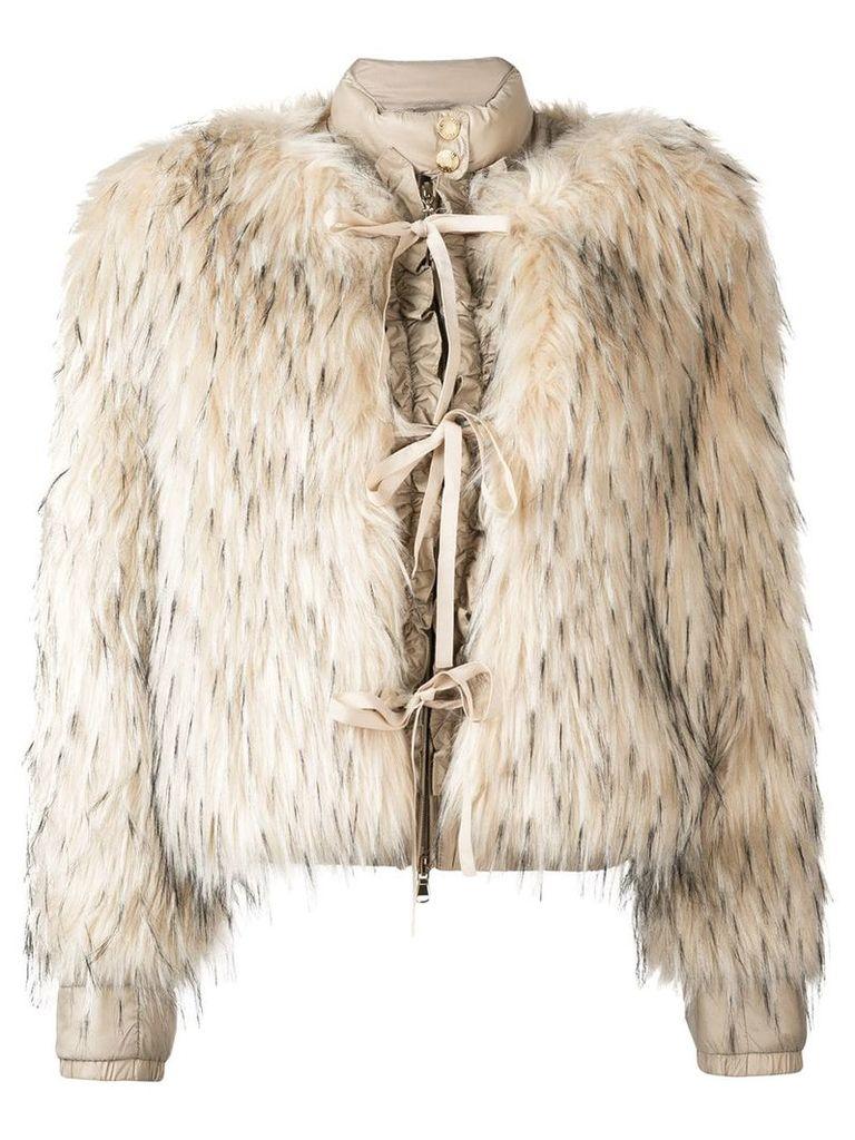 Patrizia Pepe faux fur puffer jacket - Nude & Neutrals