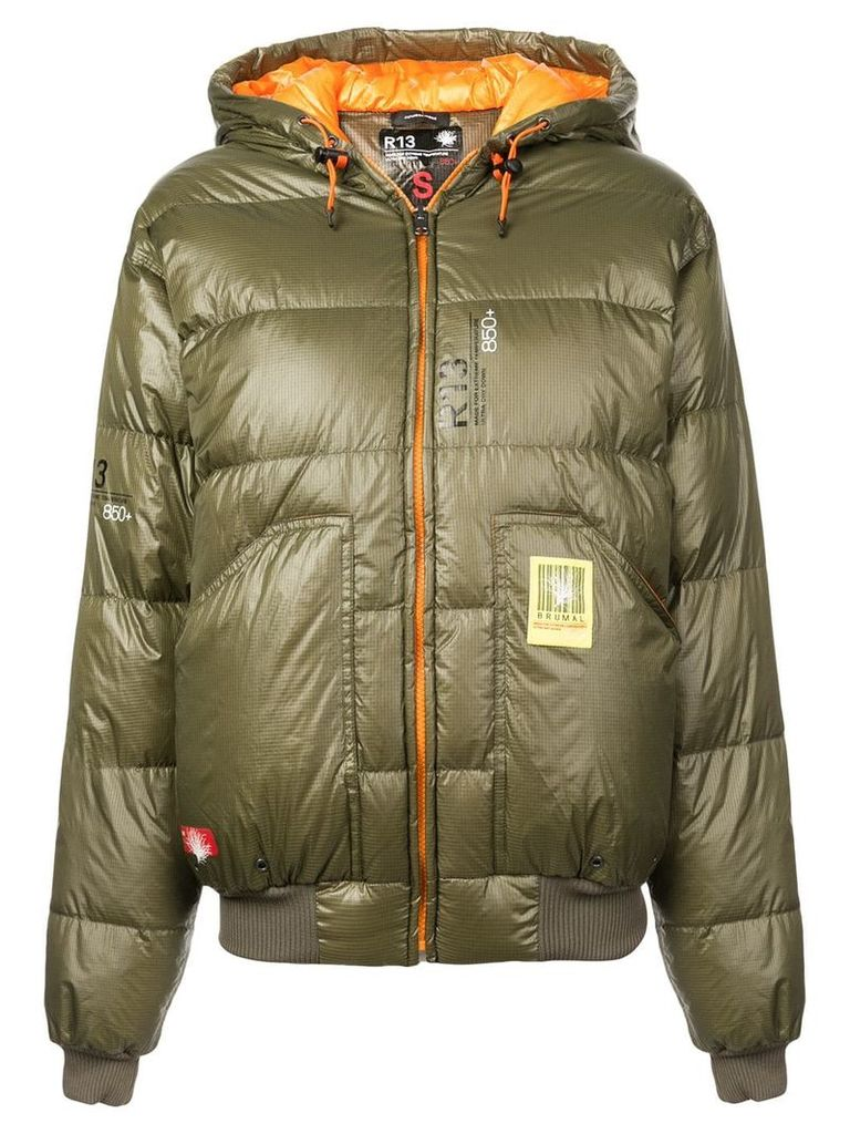 R13 hooded puffer jacket - Green
