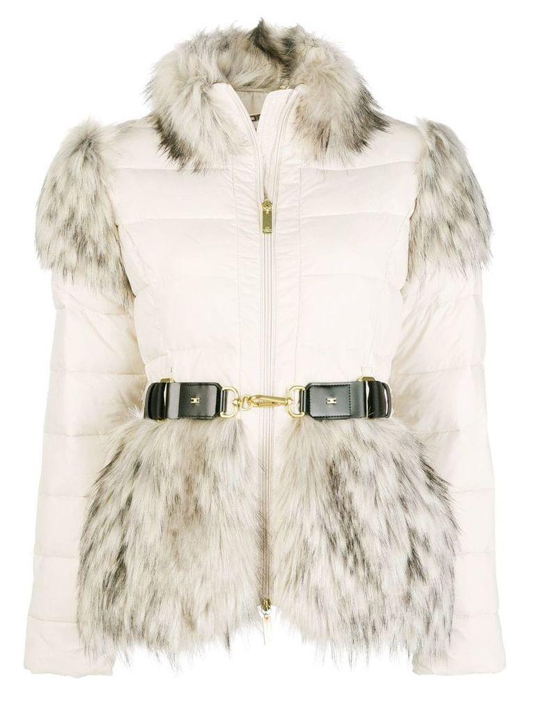 Elisabetta Franchi Faux fur trimmed jacket - Nude & Neutrals