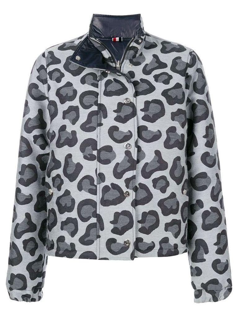 Thom Browne Leopard Wool Jacquard Down Jacket - Grey