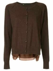Muller Of Yoshiokubo contrast long-sleeve cardigan - Brown