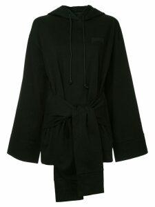 Juun.J tie waist hoodie - Black