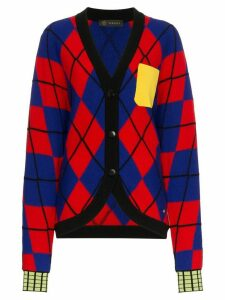 Versace V-neck argyle cardigan - A5706 MULTI