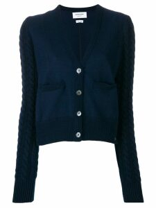 Thom Browne Cable Knit V-Neck Cardigan - Blue