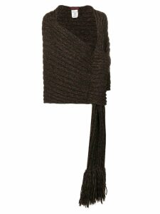 Romeo Gigli Pre-Owned 1990's ribbed wrapped shawl - Brown