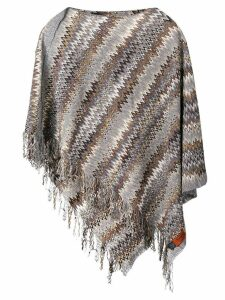 Missoni Pre-Owned 2000's asymmetric fringed poncho - Grey
