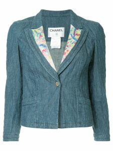 Chanel Pre-Owned CC logos one button basic jacket - Blue