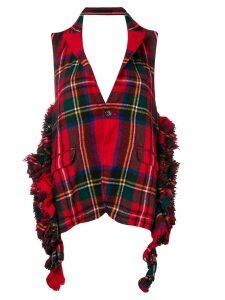 Comme Des Garçons Pre-Owned tartan frayed backless waistcoat - Red