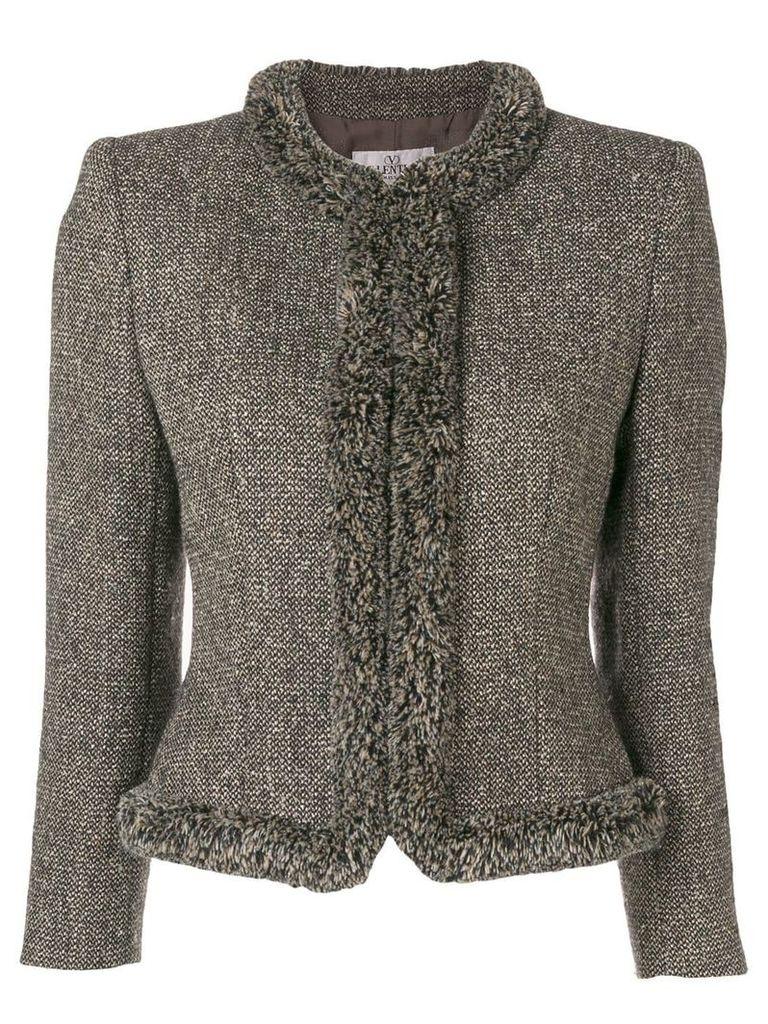 Valentino Vintage 2000's collarless tweed jacket - Brown