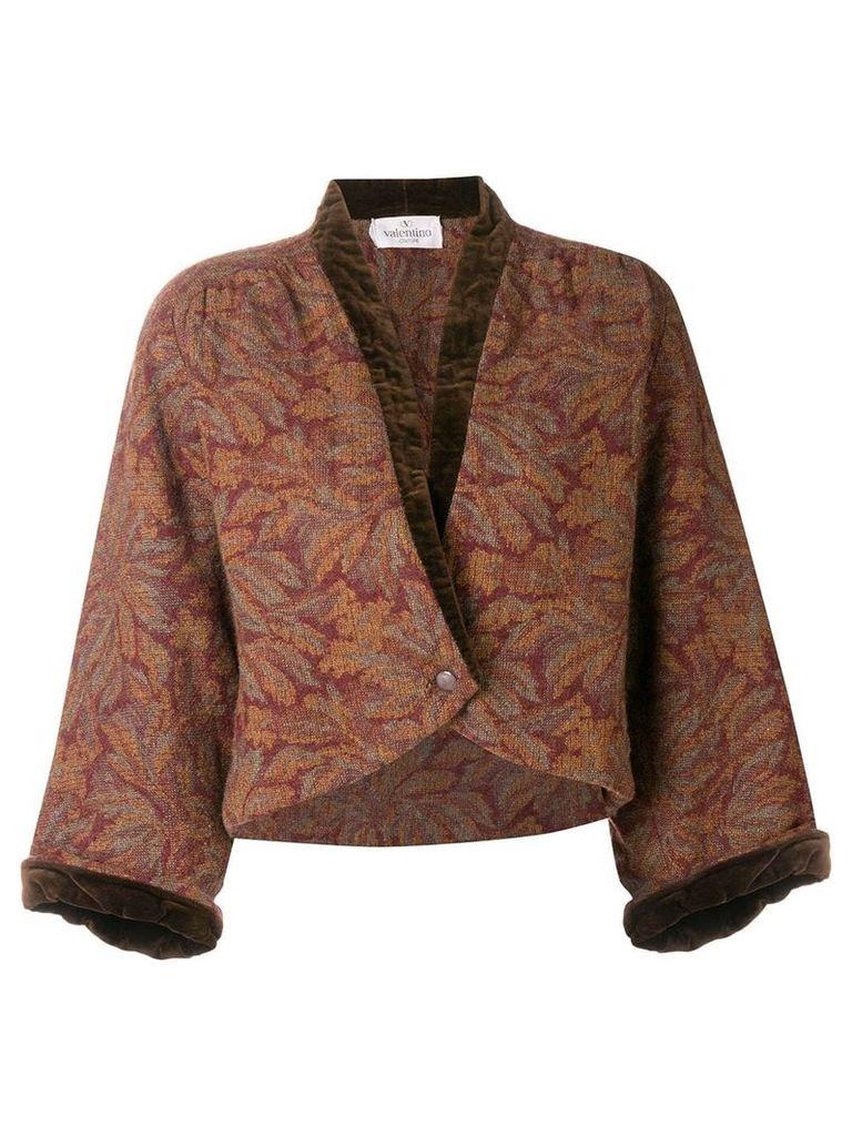 Valentino Vintage 1980's floral cropped jacket - Brown