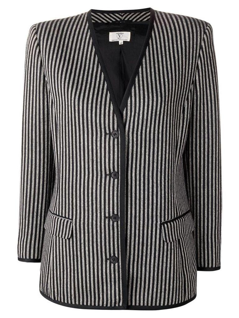 Valentino Vintage 1980's striped slim jacket - Black