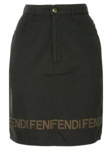 Fendi Pre-Owned logo short length skirt - Black