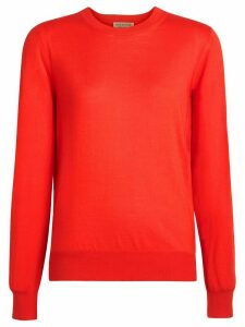 Burberry Vintage Check Detail Merino Wool Sweater - Red