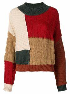Miaoran colour-block jumper - Red