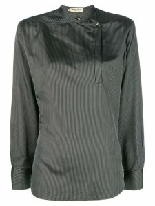 Giorgio Armani Pre-Owned mandarin collar striped blouse - Black
