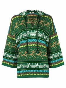 Kansai Yamamoto Pre-Owned patterned oversized hoodie - Green