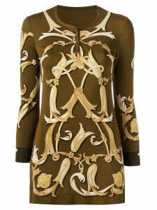 Hermès Pre-Owned long printed blouse - Brown