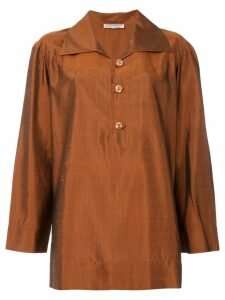 Yves Saint Laurent Pre-Owned textured shirt tunique - Brown