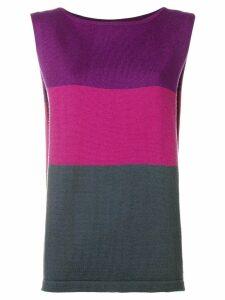 Yves Saint Laurent Pre-Owned 1980's colour block top - PURPLE