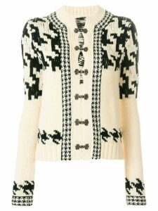 Yohji Yamamoto Pre-Owned houndstooth intarsia cardigan - Neutrals