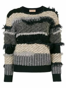 Issey Miyake Pre-Owned 80's frayed striped jumper - Black