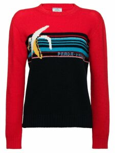 Prada banana intarsia logo wool sweater - Red