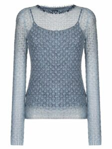 Ermanno Scervino beaded neck jumper - Blue