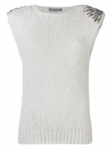 Alberta Ferretti embellished knitted top - Grey