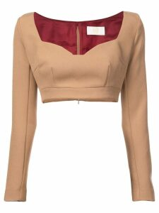 Sara Battaglia cropped jersey top - Neutrals