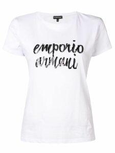 Emporio Armani sequin logo printed T-shirt - White