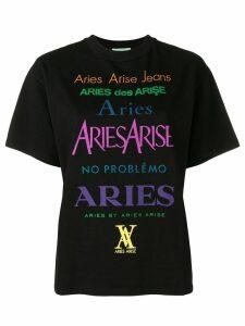 Aries logo print T-shirt - Black