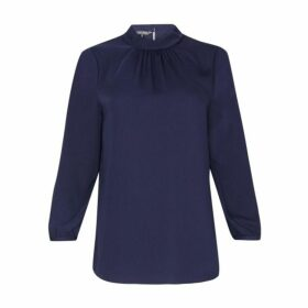 Midnight Ruche Neck Blouse