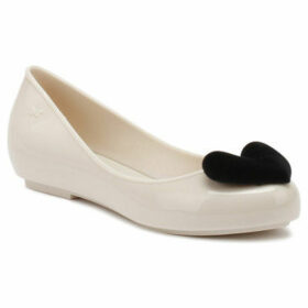 Zaxy  Womens Ivory Contrast Pop Heart Flock Ballerina Flats  women's Shoes (Pumps / Ballerinas) in Grey