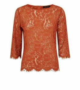 Rust Lace 3/4 Sleeve Zip Back Top New Look