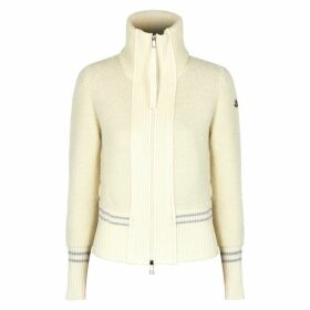 Moncler Cream Panelled Wool Bouclé Cardigan