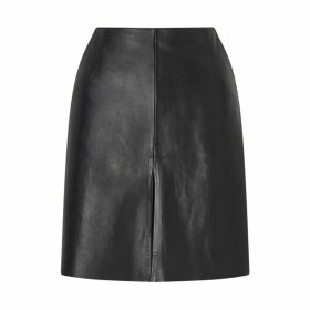 Jigsaw Mini Pleat Front Leather Skirt