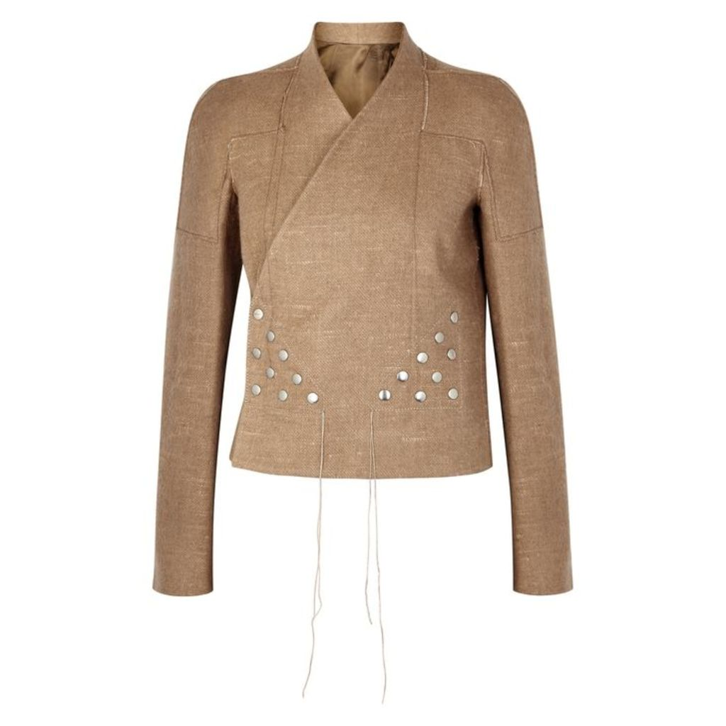 Rick Owens Brown Camel And Linen-blend Jacket
